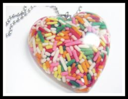 Sprinkle Candy Resin Necklace by softbluecries