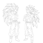 Gogeta and Vegeto Lineart by Maniaxoi