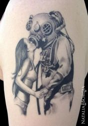 Deep sea diver tattoo by nataliaborgia