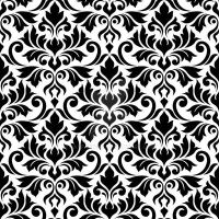 Flourish Damask Ptn Black on White by NatPaskell