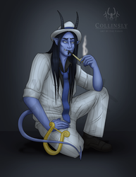 Collinsly the Tiefling Bard - DnD Commission by Fae-Fangs
