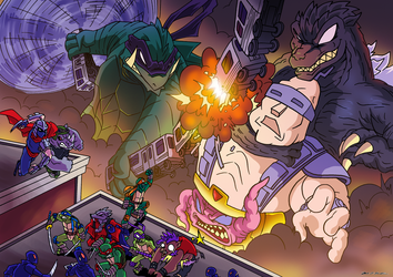 Godzilla and Gamera VS Krang by OUTCASTComix