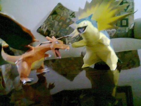 charizard and typhlosion by javierini