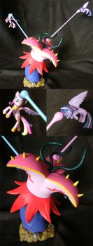 Twilight and Cadance vs the Tatzlwurm by PrototypeSpaceMonkey