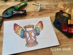 Winged Hour Glass by AliDee33