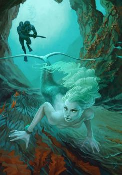 Hunting on mermaid by Waldemar-Kazak