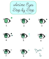 Anime eyes - Step by step by Clafti