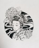 Geisha, Hydragea, and the Moon by Pcat007