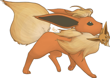 Flareon and Eevee by mewgal