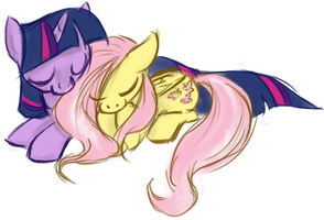 Twilight Sparkle and Fluttershy Cuddle by itena
