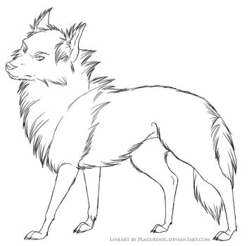 Grumpy wolf Lines by Plaguedog