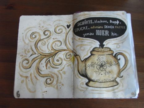 A teapot painted with coffee by KizutaSama