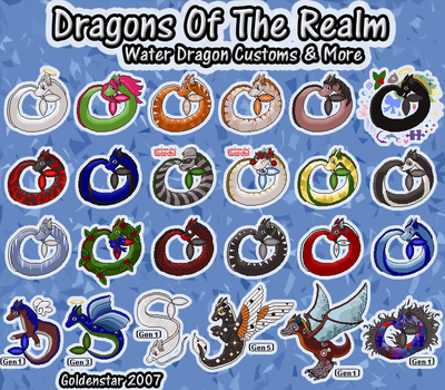 Dragons of the Realm: Water Dragon Collection by GoldenstarArtist