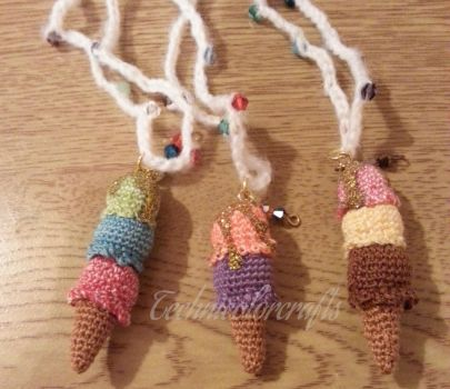 Mini Crochet Ice cream Necklace by technicolorcrafts
