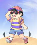 Ness on a desert by Drawn-Mario