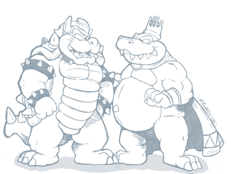 Bowser and King K. Rool (WIP) by Krunchycroc