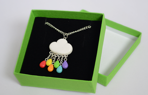 Handmade Cloud Necklace with Rainbow Rain Drops by Linnypig