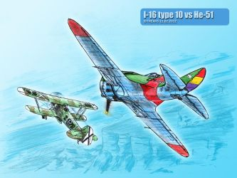 I-16 type 10 vs He-51 by TheXHS