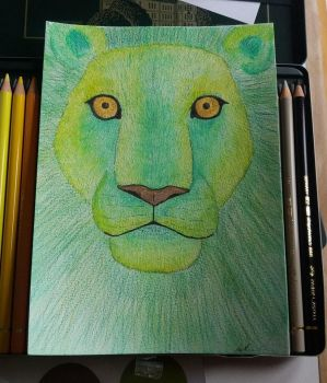 Green Lion by HoneyThePandaa