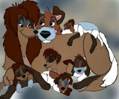 Rita and Dodger with puppies by seamusritafan