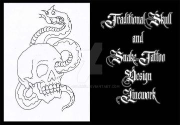 Traditional Drawing Skull and Snake!! Video on YT! by Halasaar01