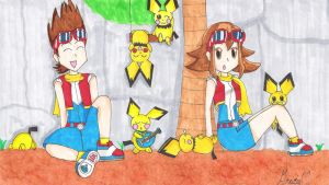 2 Kids and Pichu in Oblivia by ShayminsGracidea01