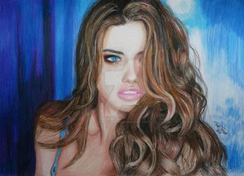 Adriana Lima Coloured Pencil Drawing by GTracerRens