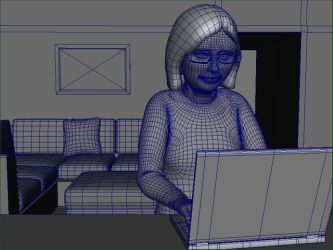 lady at laptop wireframe by BungZ