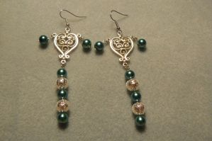 Heart of Pearls earrings by Beadedwolf22