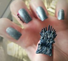 Game Of Thrones Nail Art - The Iron Throne by KayleighOC