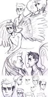 Supernatural : Destiel Sketches 1 by inu-steakcy