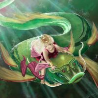 Riding on a golden fish by emiliestabell