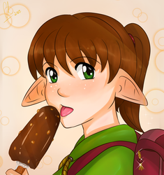 Michi with ice-cream by Chyche