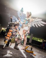 Winged Victory Mercy Cosplay and Junkrat Cosplay by LaraWegenaerArts