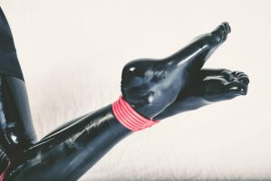 Latex-clad feet bound with rubber rope by PascalsProxy