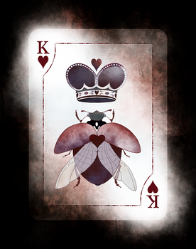 Beetle Royale: Playing Cards, King of Hearts by atomantic