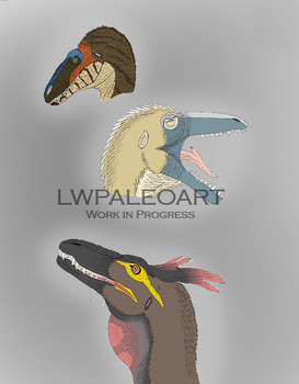 The Faces of Australovenator WIP by LWPaleoArt
