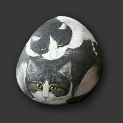 Cats - a painted stone by CamillaMalcus