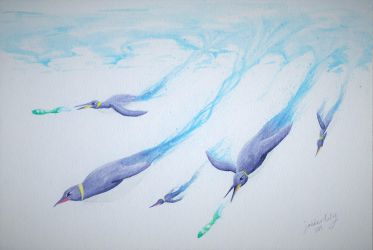 Diving Penguins by Jabberlily