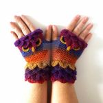 Carnival Owl Fingerless Gloves by FearlessFibreArts
