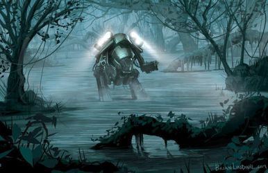 Science Fiction Swamp Frog Mech Artwork by BrianLindahl