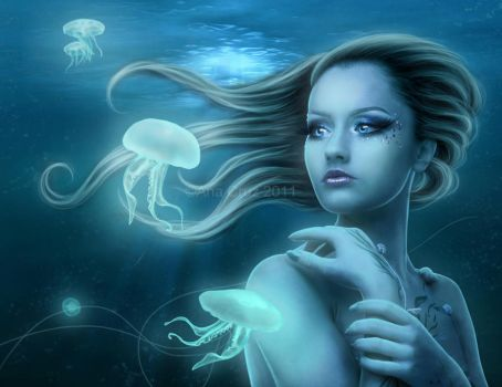 Under the waves by LuneBleu