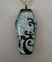 Silver Coffin Fused Glass by HoneyCatJewelry