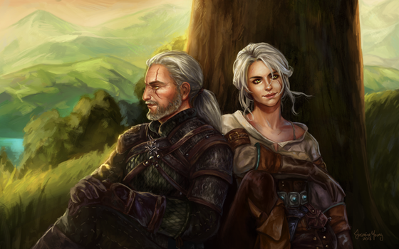 Commission: Ciri and Geralt by truei