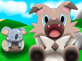 Rockruff and Komala