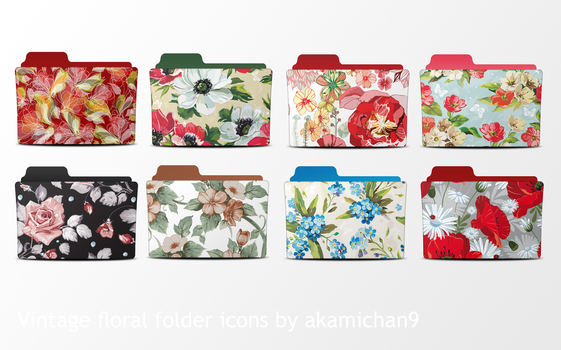 Vintage Floral Folder Icons by akamichan9