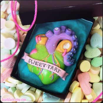Sweet Tart Candied Heart Necklace with Tentacle by beatblack