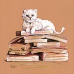 Studious cat by dh6art