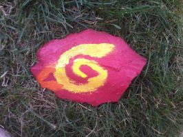 Leaf Symbol Rock Painting by MiyuKaitero88