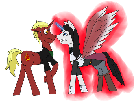 Brony meets DnD - Firebrand and Jeminia - COLORED by Wingsong5555